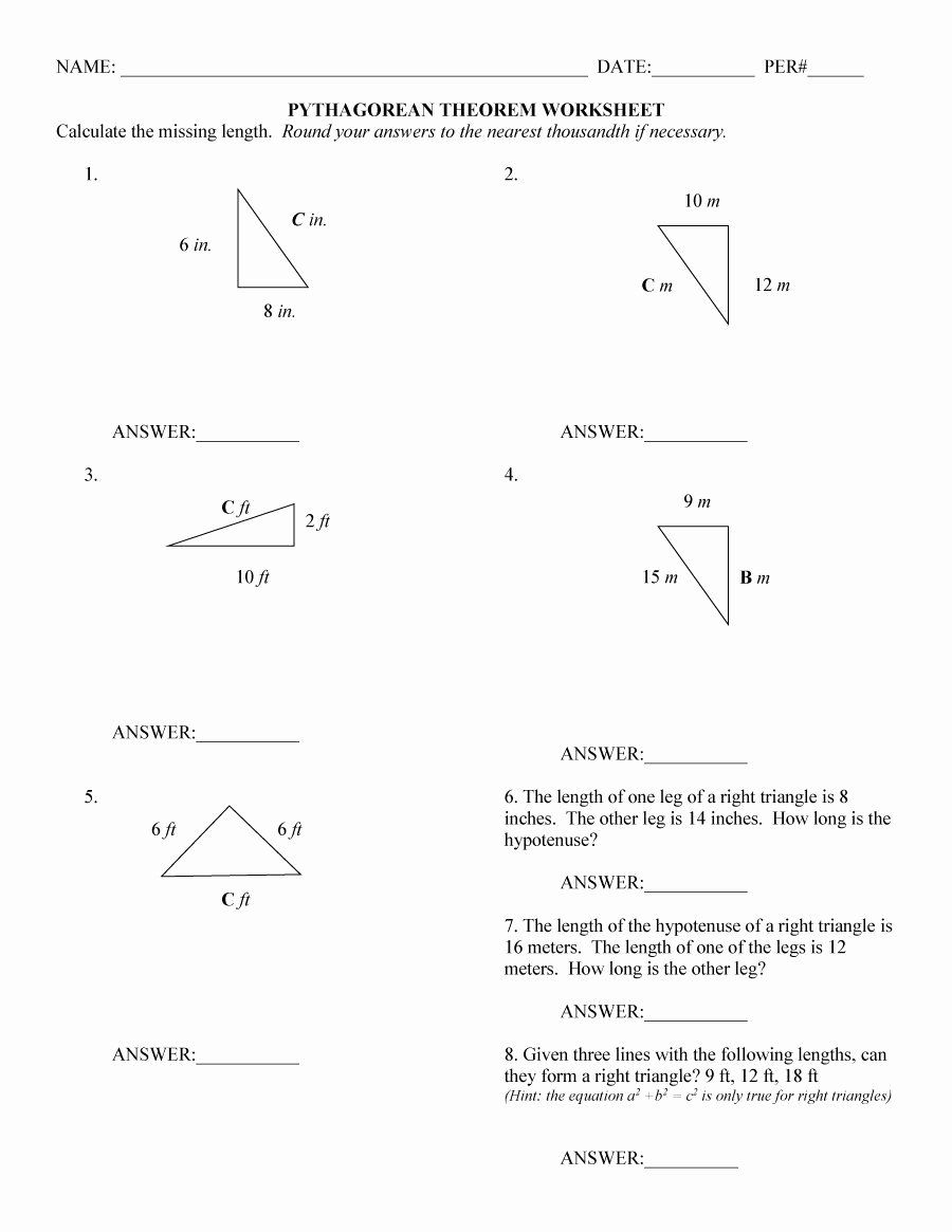 Pythagorean Theorem Worksheet With Answers Fresh Pythagorean Theorem Word Problems Works In 2020 Pythagorean Theorem Worksheet Pythagorean Theorem Practices Worksheets