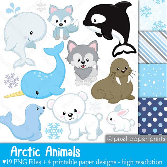 Animales del Artico Set de Clip Art y Papeles por pixelpaperprints ...