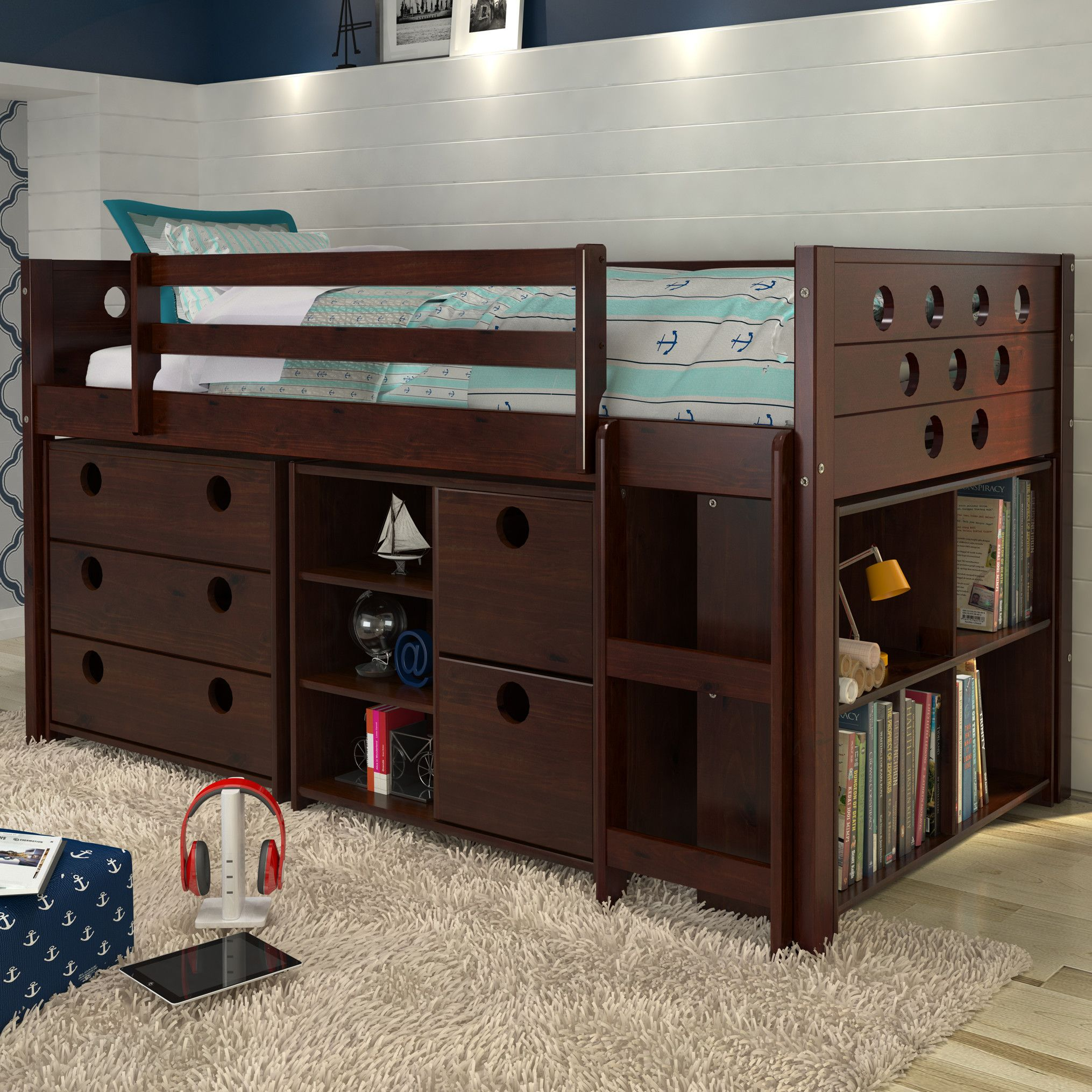 Loft bedroom storage ideas  Circles Twin Loft Bed with Storage