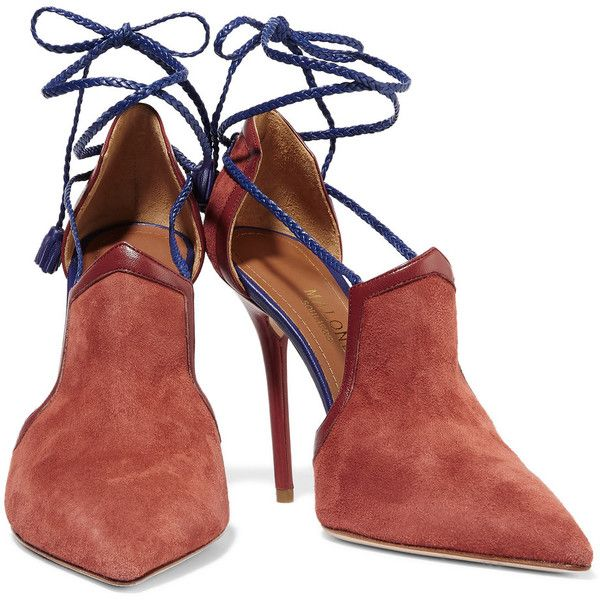 Malone Souliers Haji lace-up leather-trimmed suede pumps ($391) ❤ liked on Polyvore featuring shoes, pumps, laced up shoes, lace up pumps, suede lace up shoes, laced shoes and suede leather shoes