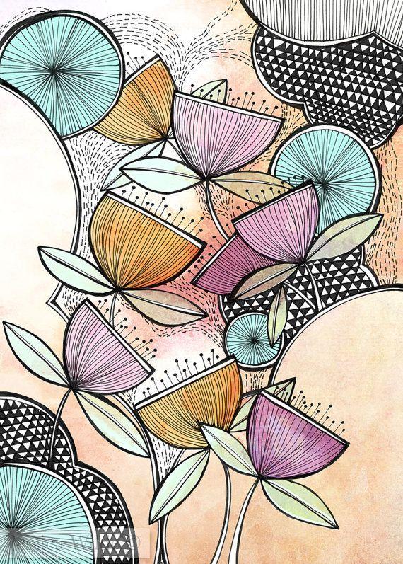 Zen Garden Illustration Kunstdruck A4 A3 #zengardens