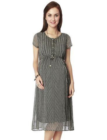 9b744b4e6589 Nine Maternity Dress In Black | Maternity Clothing Online India ...