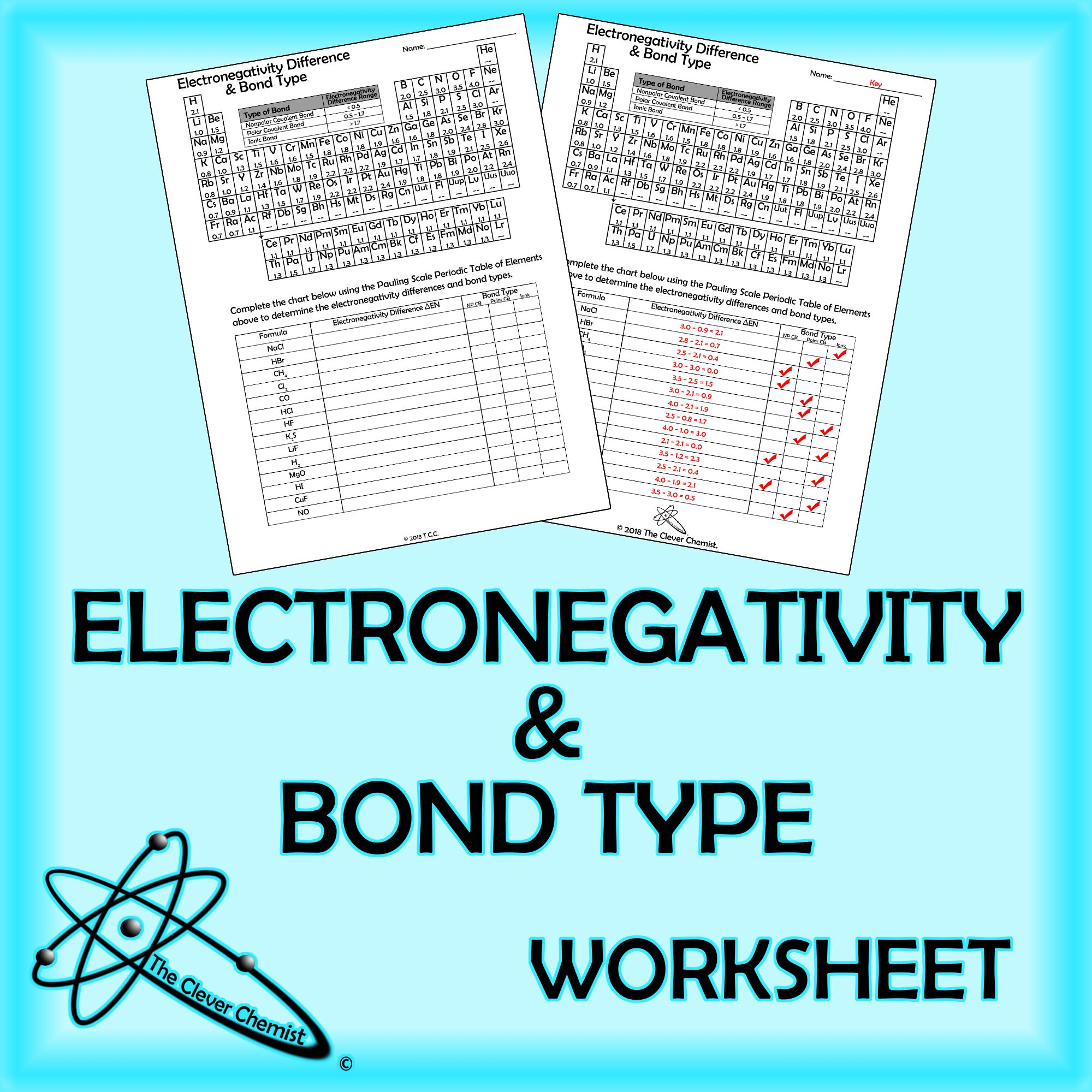Electronegativity Difference Amp Bond Type Worksheet