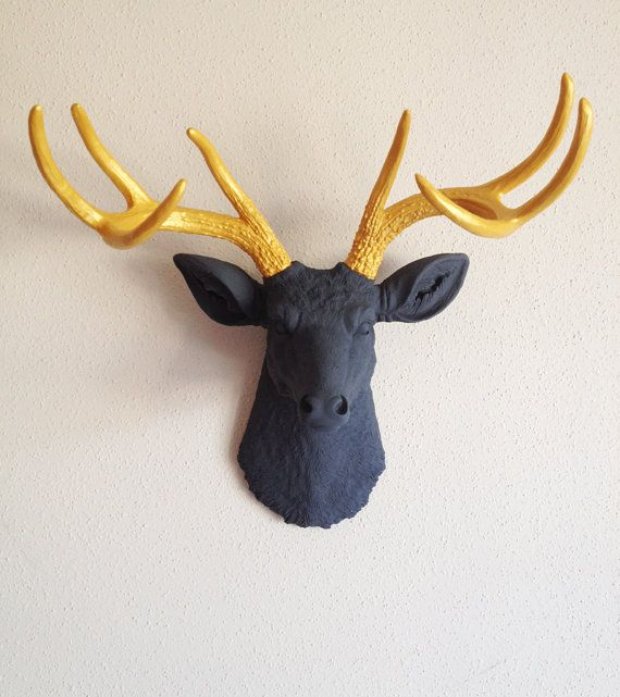 Charcoal And Gold Deer Head Wall Mount By