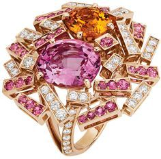 Pink Spinel, Gold Pave, Frisson Rings, Grand Frisson, Spessartit Garnet, Pink Gold, Design Jewelry, The Great, Jewellery Chaumet