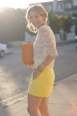 yellow with lace