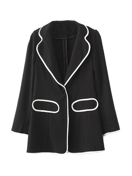 Black Stitching White Edge Blazer | Choies