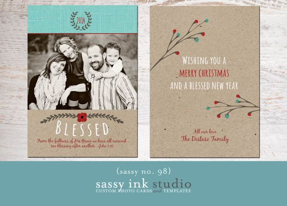 Blessed Christmas Photo Card Template No 98 5x7 Holiday Card Template Instant Do Christmas Photo Cards Photo Card Template Christmas Photo Card Template