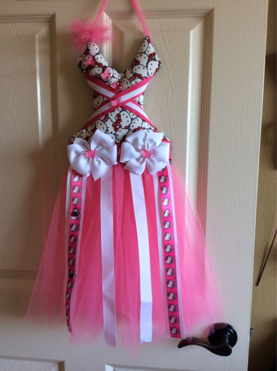 Pink hello kitty tutu bow holder by esabellasbowtique on etsy