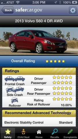 SaferCar- iPhone App By NATIONAL HIGHWAY TRAFFIC SAFETY ...