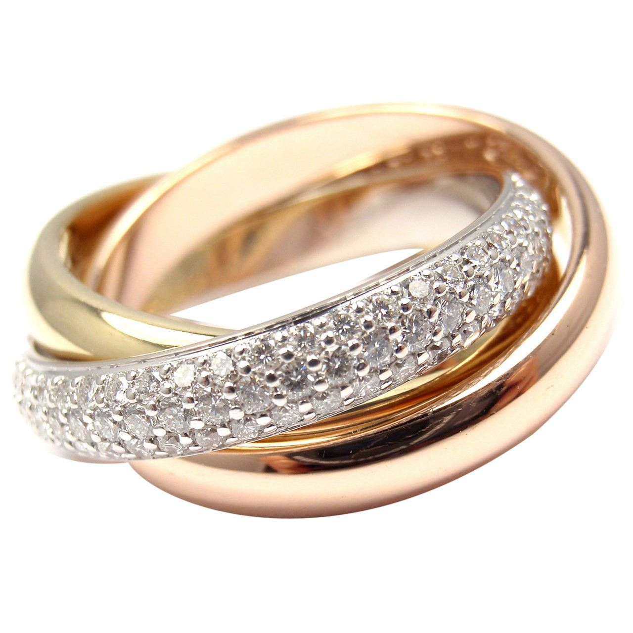 Cartier Trinity Pave Diamond Tri Color Gold Band Ring