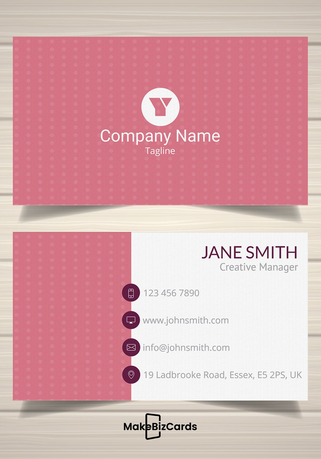 Free Pink Polka Dot Business Card Template Businesscard Card Template Printing Business Cards Business Card Template