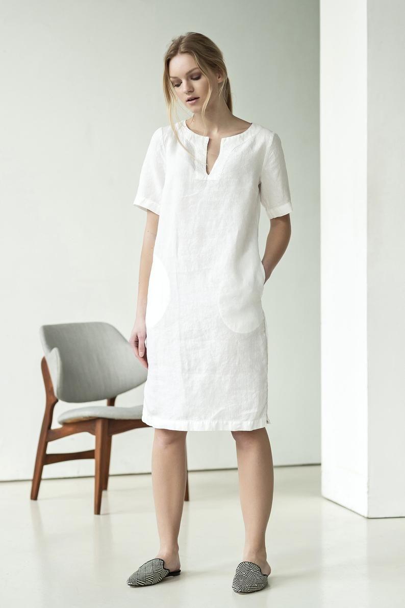 NEW White linen dress | Elegant linen dress | Linen mini dress | Summer linen dress | Short sleeve linen dress | Linen tunic dress -   16 dress Modest jean jackets ideas