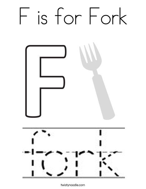 F Is For Fork Coloring Page Twisty Noodle Coloring Pages Alphabet Coloring Pages Food Coloring Pages