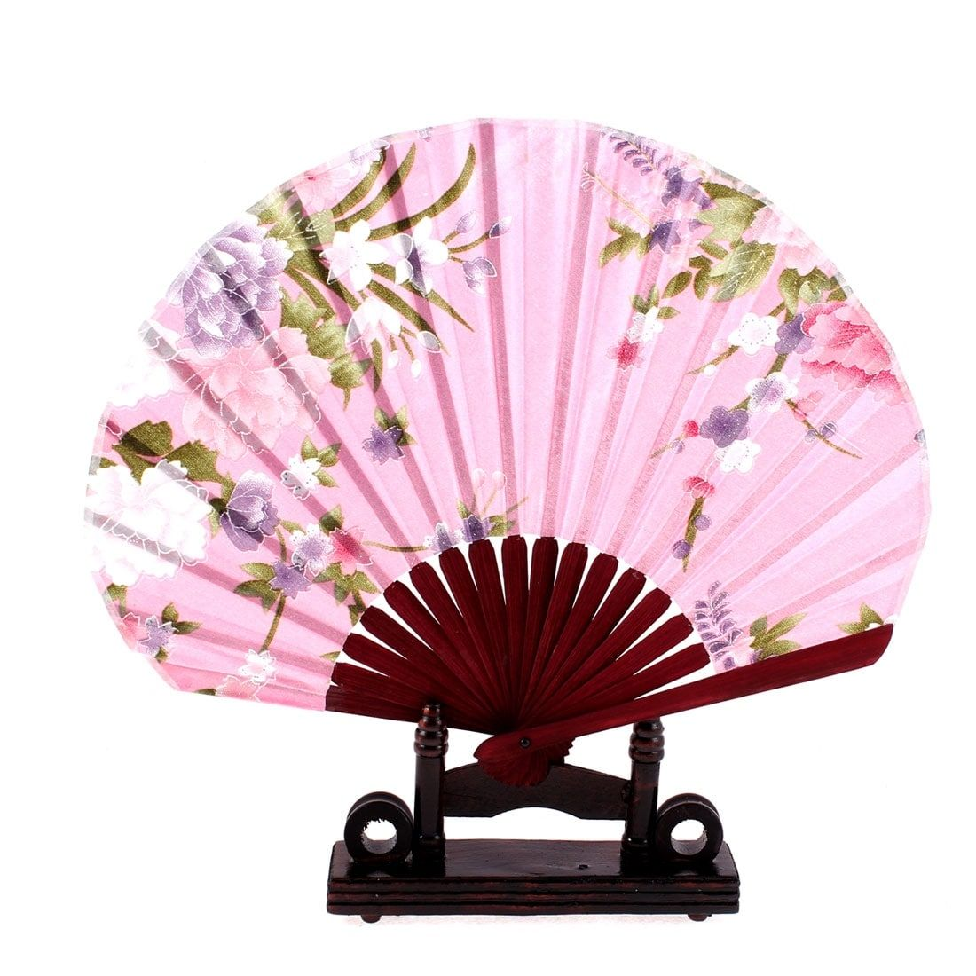 Unique Bargains Chinese Bamboo (Green) Pink Floral Folding Hand Fan ...