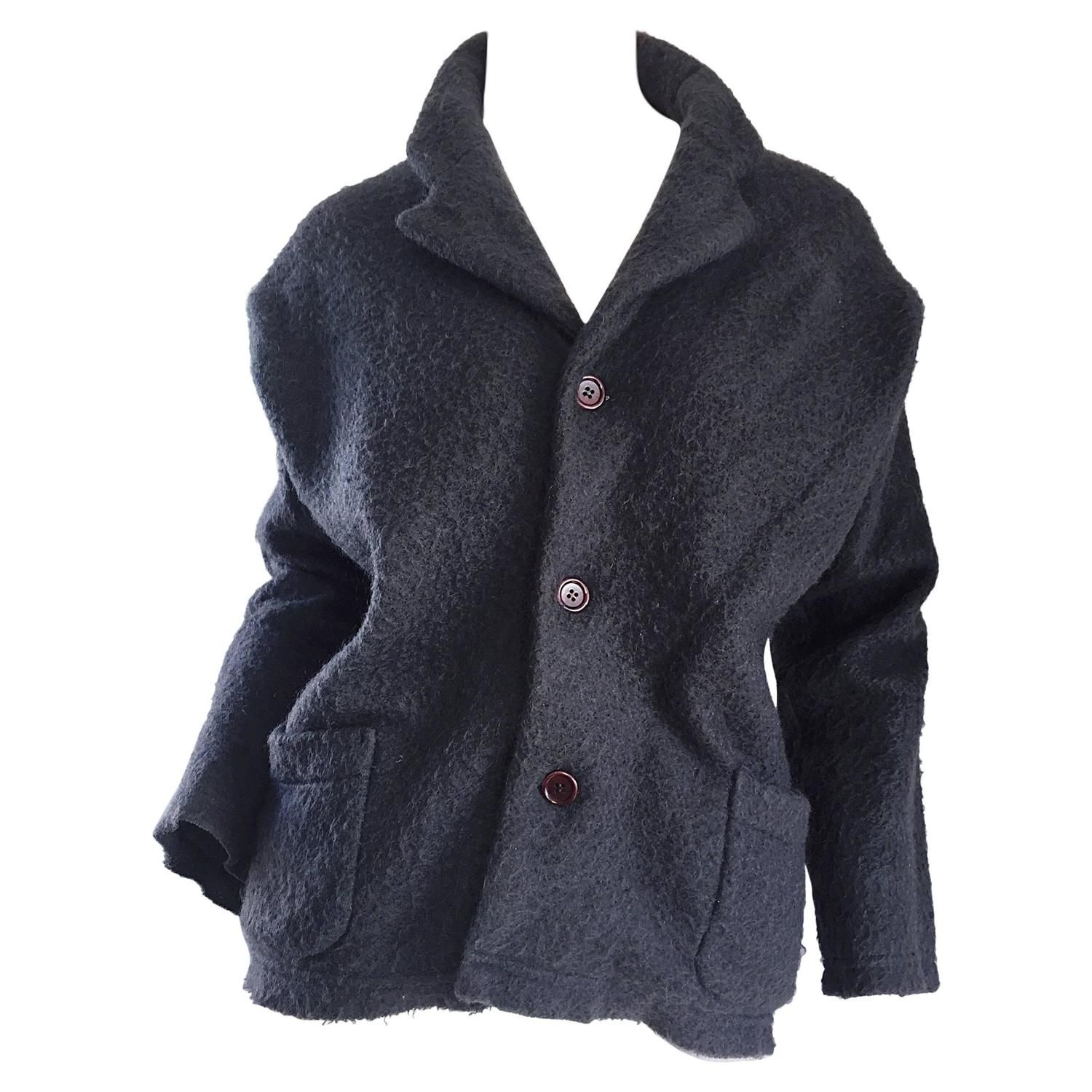 Vintage Comme des Garcons Charcoal Gray Mohair Slouchy Blazer Jacket | From a collection of rare vintage jackets at https://www.1stdibs.com/fashion/clothing/jackets/