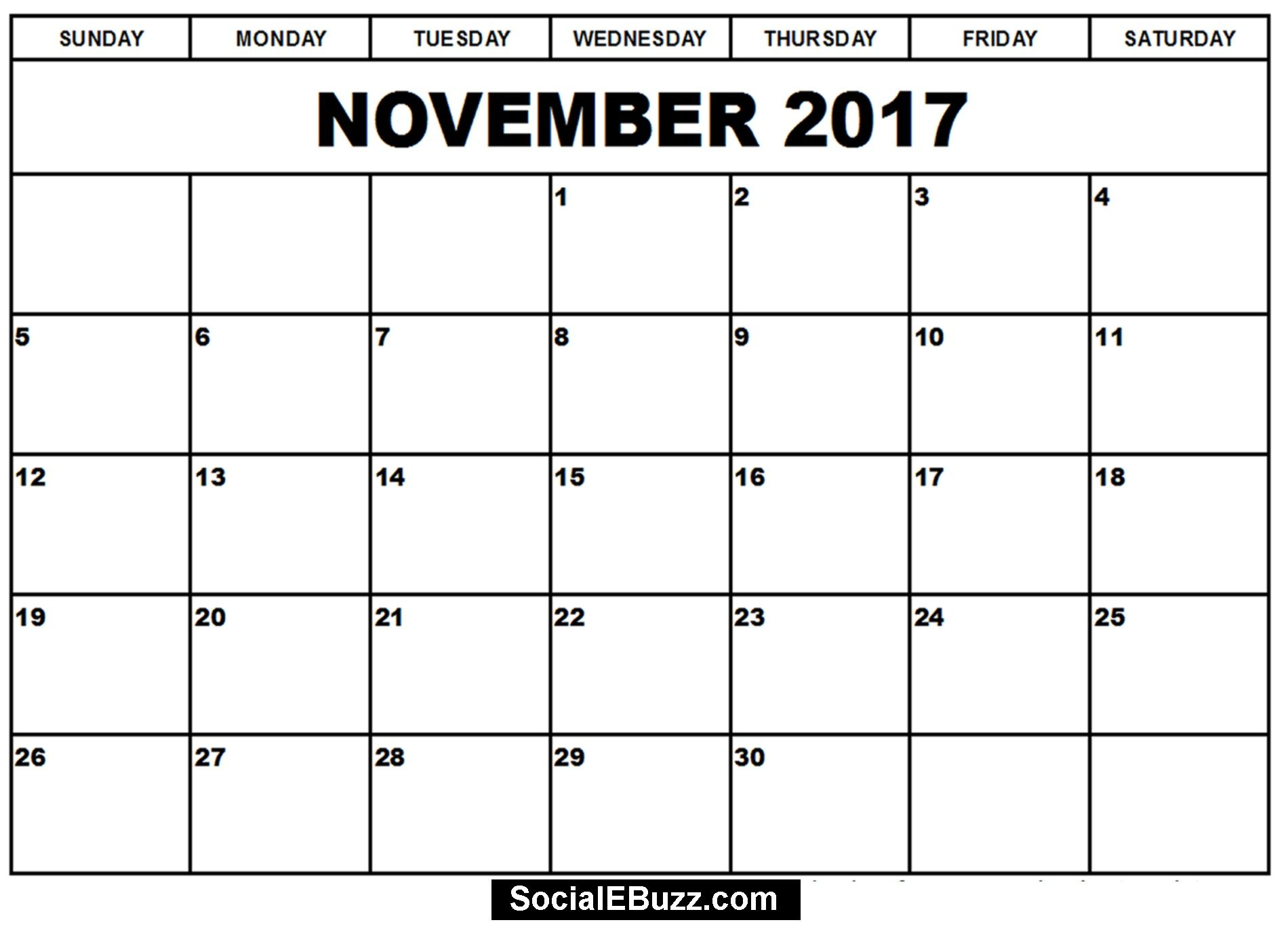 November  Calendar Printable Template HttpSocialebuzzCom