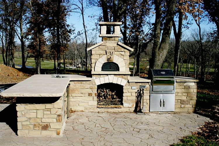 Wood Fire Pizza Oven, Stone Outdoor Kitchen, Built In Stainless Grill,  Belgard Mega