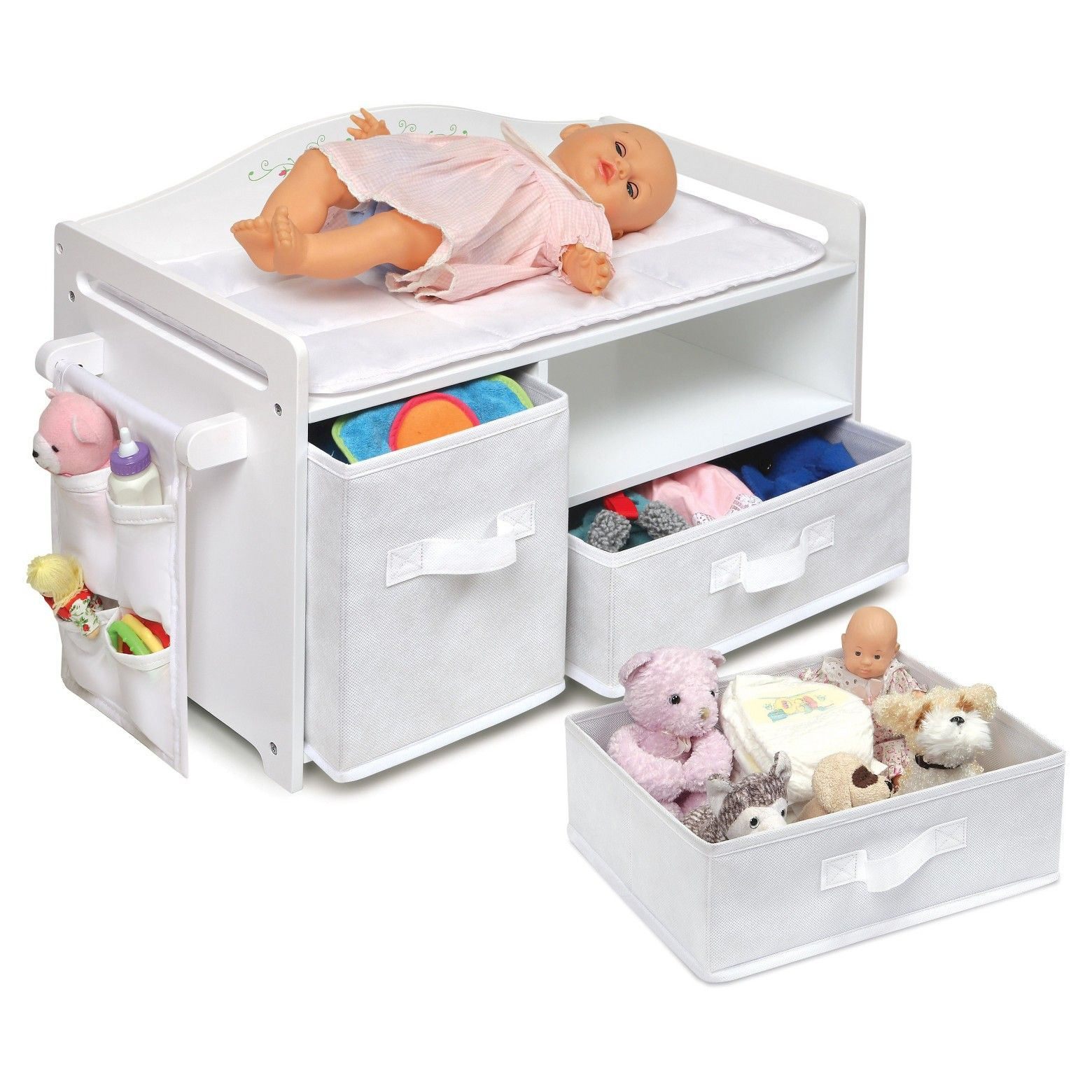 Badger Baskets Doll Care Station Offers One Place For Storing And Amazoncom Snap Circuits Sc300 Electronics Discovery Kit Toys Basket White Rose