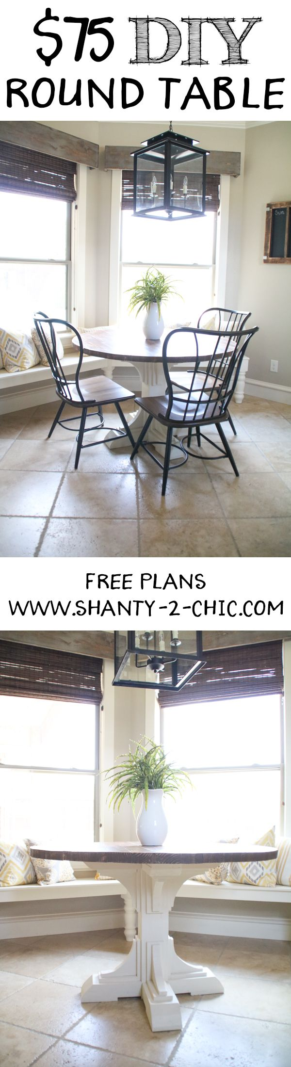 Build a round table for only $75 in lumber with free plans and how-to tutorial from www.shanty-2-chic.com