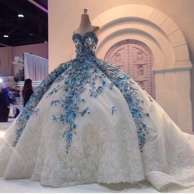 Amazing Arabic Ball Gown Wedding Dresses Blue Floral White Appliques Crystal Beaded With Huge Petticoat Bridal Dress Personalized Strapless Cocktail Wedding Dre Gowns Ball Gowns Wedding Ball Gowns