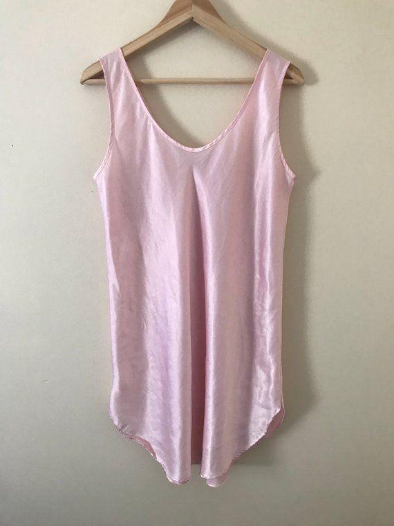 fc42d96a213d7 Vintage 90s Baby Pink Satin   Silky Polyester Lingerie Style Slip Mini Dress
