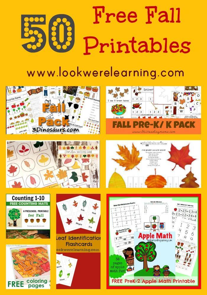 Over 50 Free Fall Printables for Kids! #50freeprintables