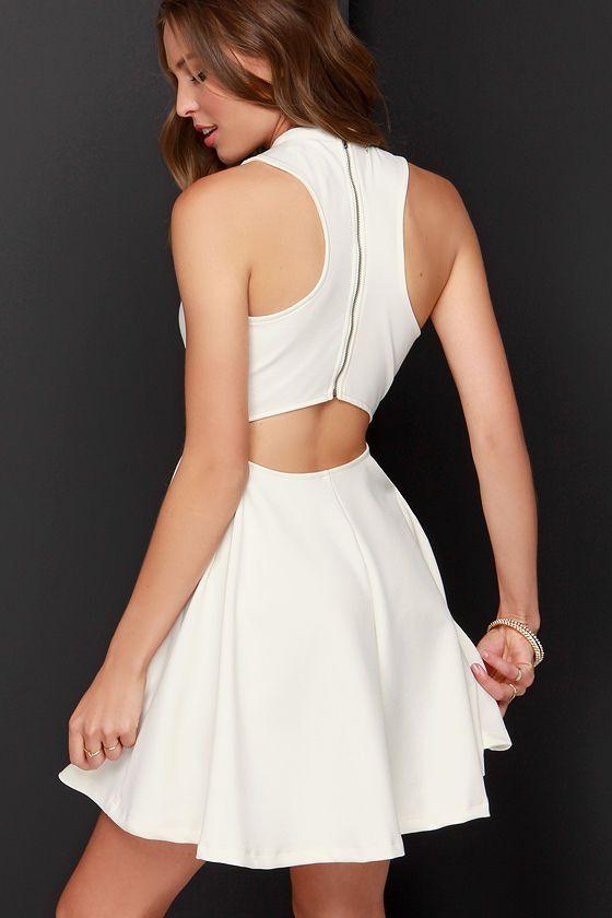 452fe2238c Others Follow Destiny Ivory Skater Dress at Lulus.com!