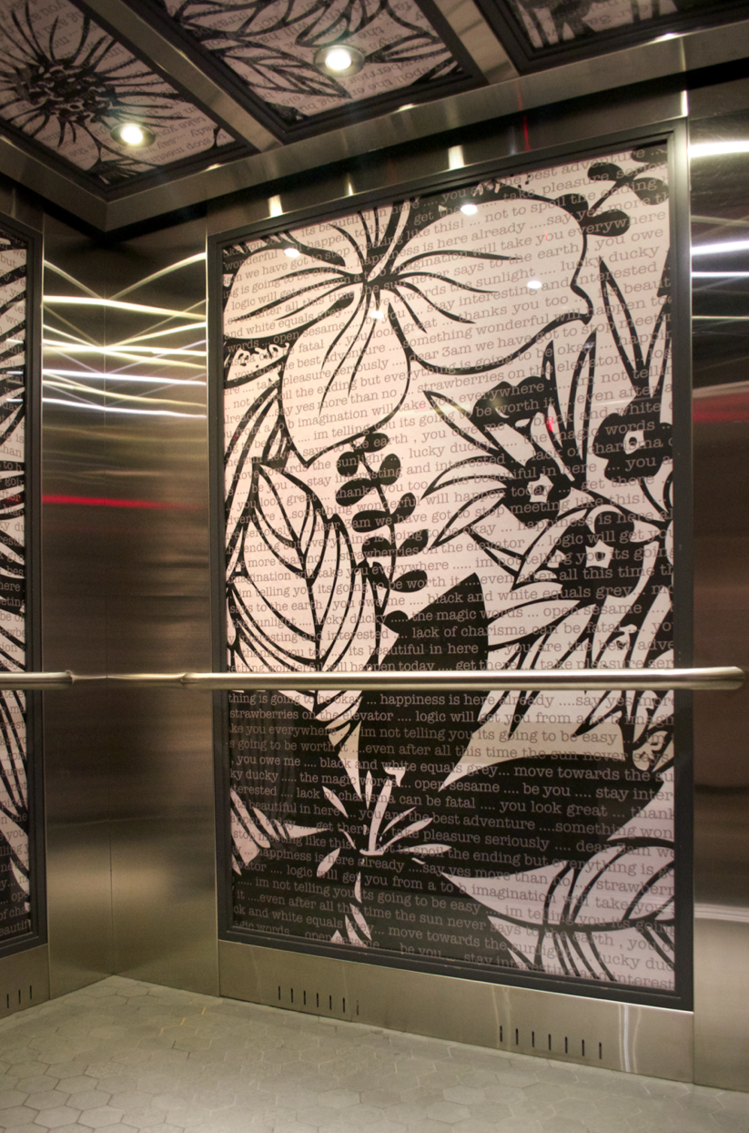Here Is Another Premier Elevator Graphic Design Interior Complete With  Custom Artwork And Custom Metal Fabrication