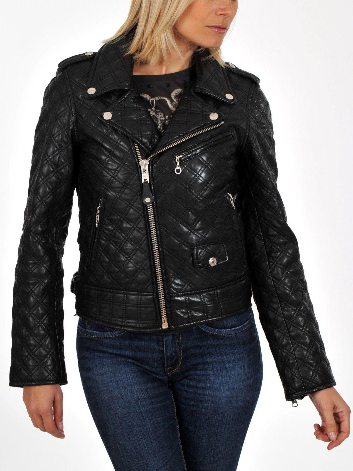 Black Friday Womens Black Soft Lambskin Leather Biker