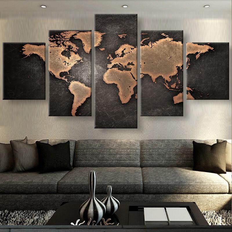 Rustic World Map Canvas Apartment Wall Decor Cool Wall Art Map Canvas