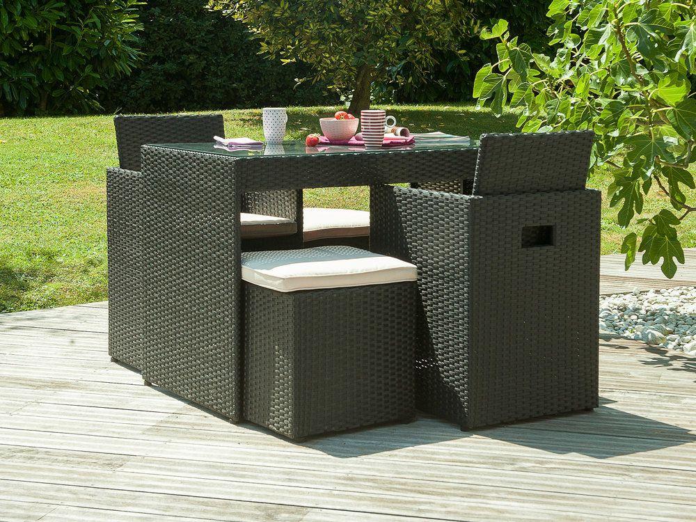 Salon de jardin 2 places: table résine tressée/verre + 2 fauteuils + ...