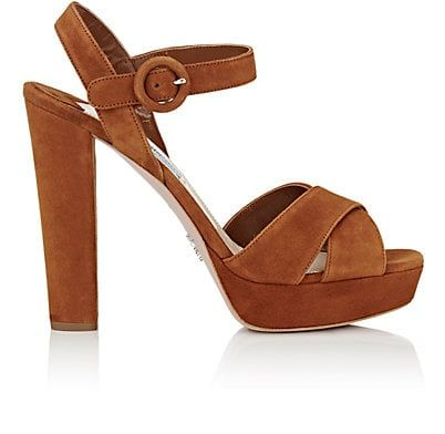 d32d251ff5c We Adore  The Suede Ankle-Strap Platform Sandals from Prada at Barneys New  York