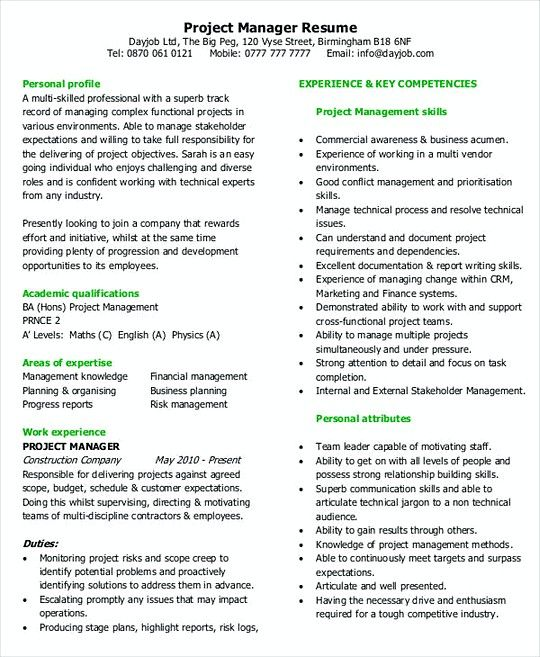 Project Manager resume template Example , Professional Manager - professional manager resume