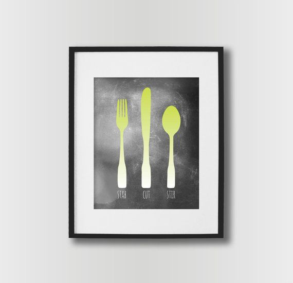 kitchen wall art - fork knife spoon kitchen sign - dining room wall