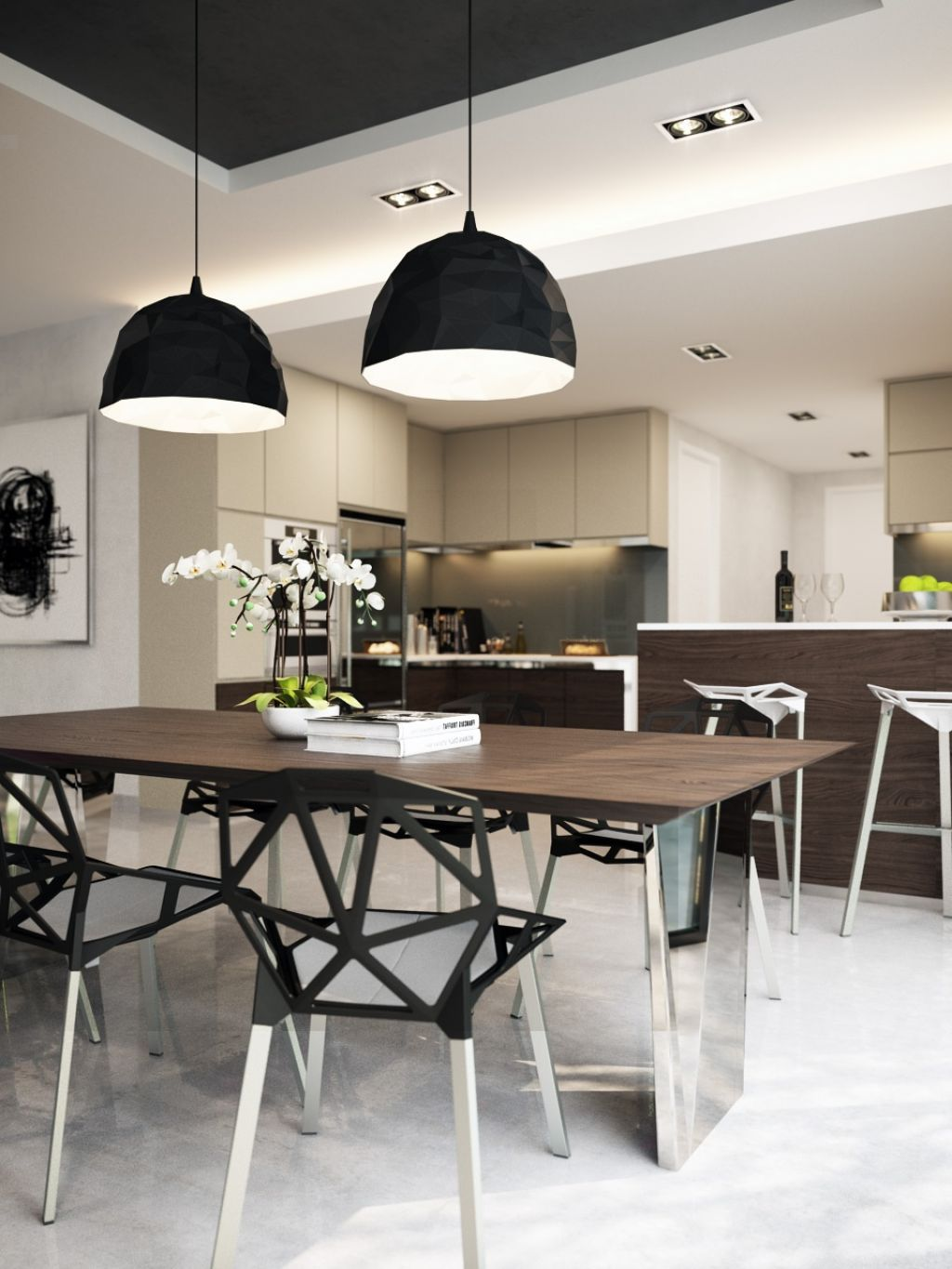 Marvelous Large Size Black Pendant Lamps Over The Dining Table In