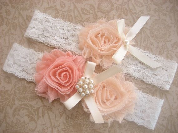 Peach+Rose+Bridal+Garter+Wedding+Garter+Set+by+nanarosedesigns,+$22.95