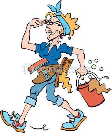Una se ora de la limpieza en el trabajo vector de stock - Trabajo de limpieza en casas ...