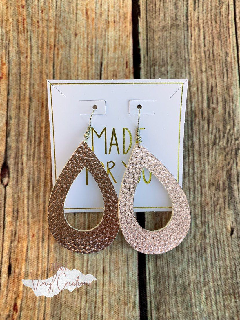 Photo of Rose gold leather earrings//Faux leather earrings//Teardrop earrings//Women earrings//Metallic earrings