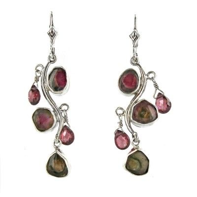 Sterling Silver Watermelon & Pink Tourmaline Branch Euro Earrings - Fire and Ice