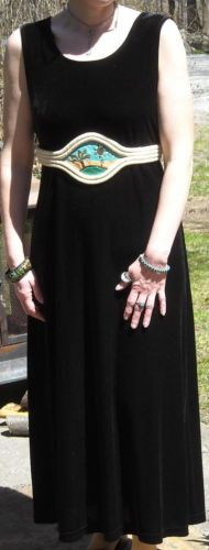 """Appleseeds Long Black Velvet Dress Fits up to 44"""" Bust Size Large Free Shipping"""