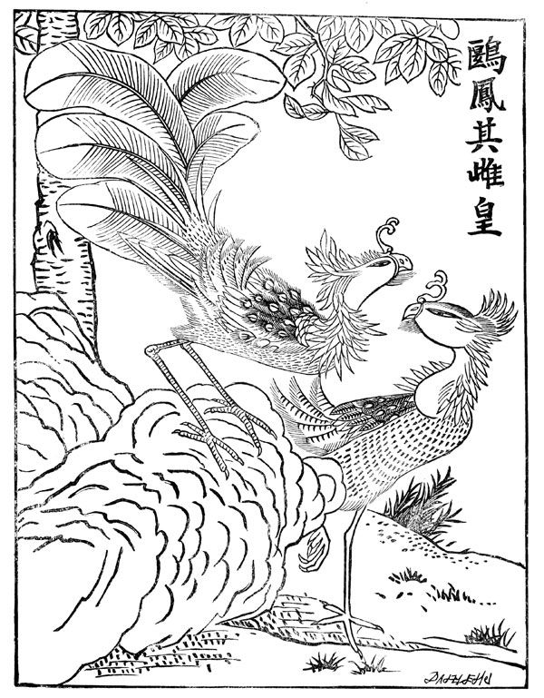Chinese art coloring pages ~ Mythical Creatures - The Fung Hwang - Chinese Phoenix ...