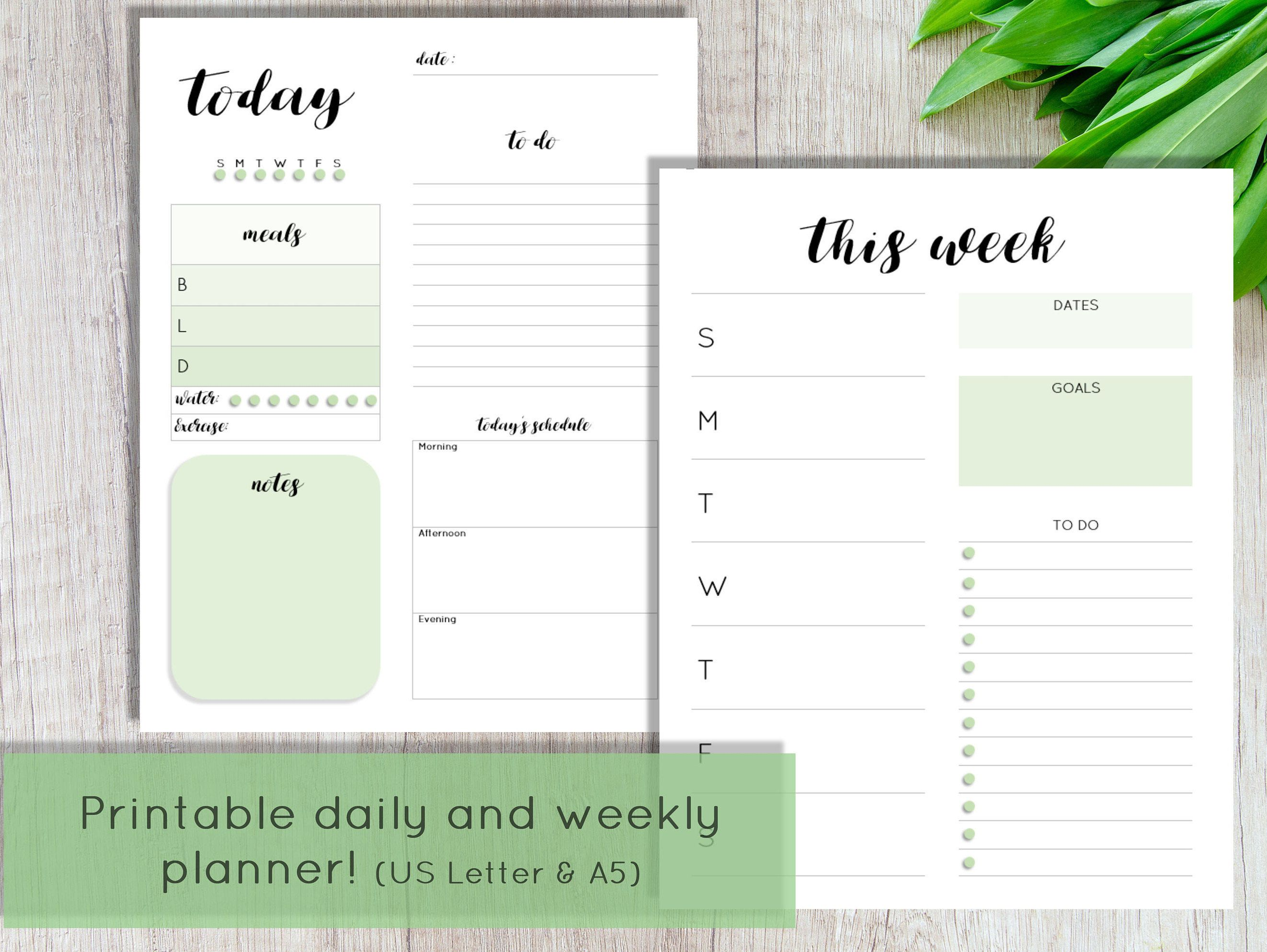 Daily And Weekly Planner Pages Printable Daily Planner