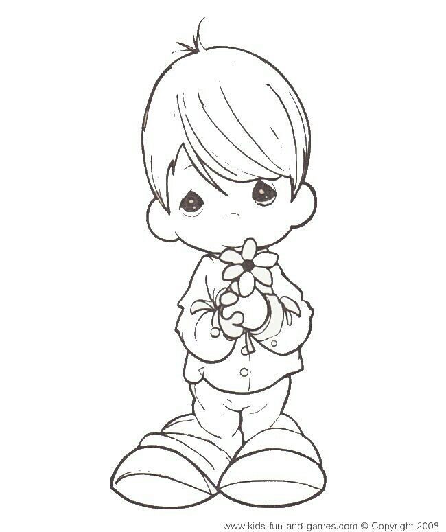 Boy With Flower Precious Moments Coloring Pages Angel Coloring Pages Wedding Coloring Pages