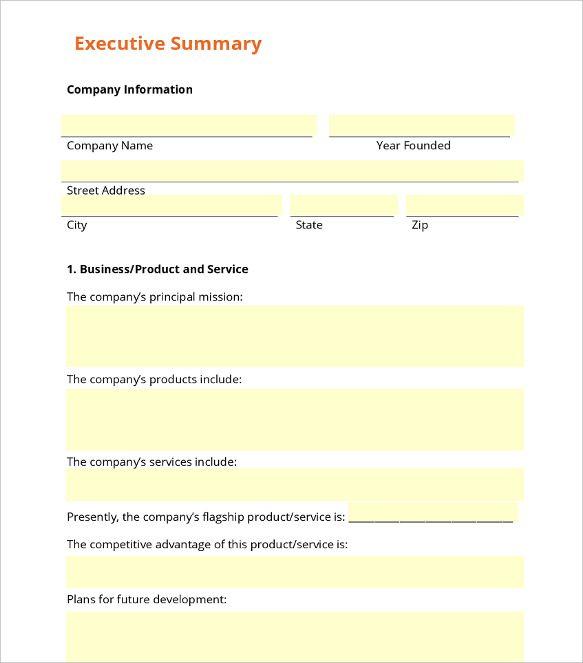 31  executive summary templates