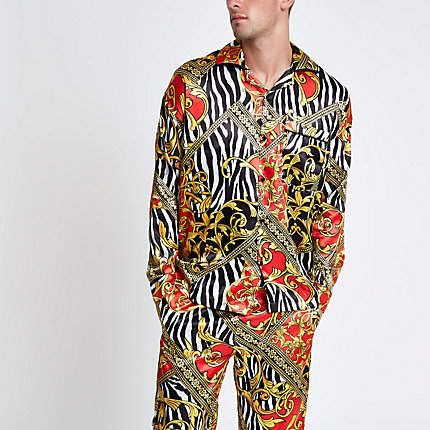 latest style of 2019 choose original attractive colour River Island Jaded yellow zebra print pajama shirt ...