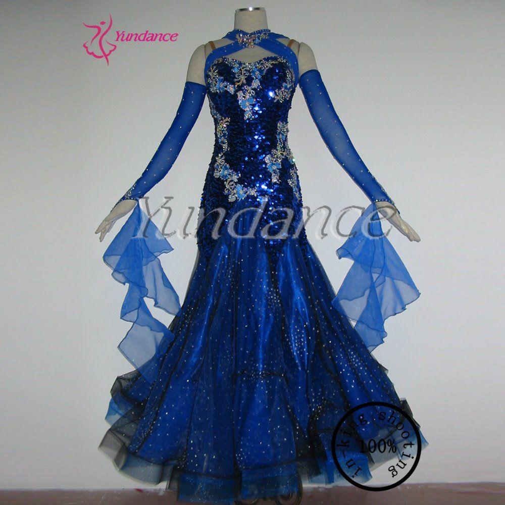 Spandex royal blue sequin ballroom dance competition dresses b