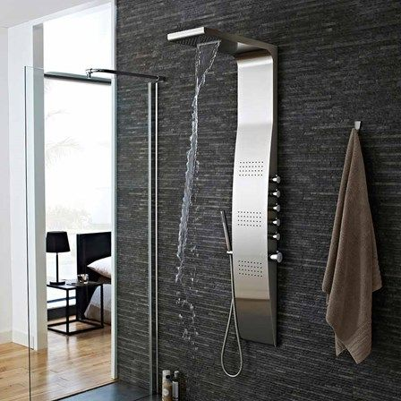 a stylish stainless steel shower tower with 3 body jets and slimline handset that - Shower Tower