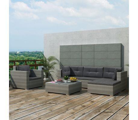 vidaXL Garten-Lounge-Set 17-tlg. Poly Rattan Grau[1/8]   Terrasse ...