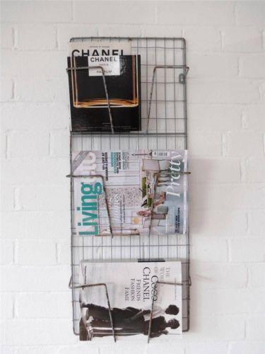 Magazine Rack Metal Wire Wall Shelf Grey Newspaper Letter